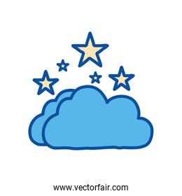 Isolated stars and cloud line and fill style icon vector design