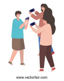 Boys and girl with smartphones vector design