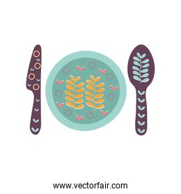 Isolated plate with cutlery flat style icon vector design