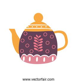 tea or coffee kettle flat style icon vector design