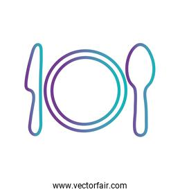 Isolated plate with cutlery gradient style icon vector design