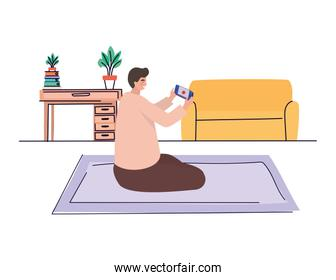 Boy with smartphone at home vector design