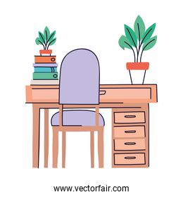 desk with chair vector design