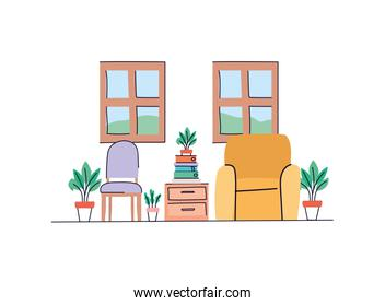 Isolated home living room vector design