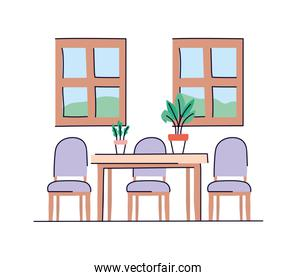 Isolated home table with chairs vector design