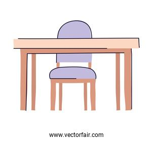 Isolated table with chair vector design