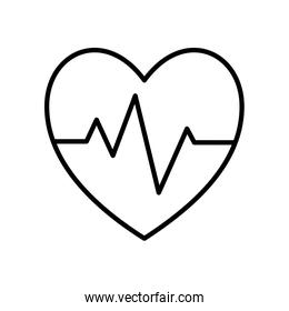Isolated heart with pulse line style icon vector design