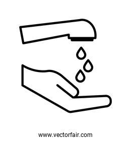 Water tap and hand line style icon vector design