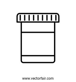 Isolated pills jar line style icon vector design