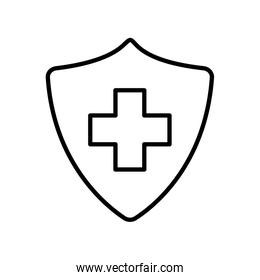Isolated cross inside shield line style icon vector design