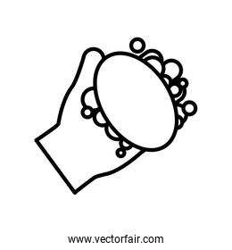 Isolated hand with soap line style icon vector design