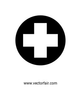 cross inside circle silhouette style icon vector design