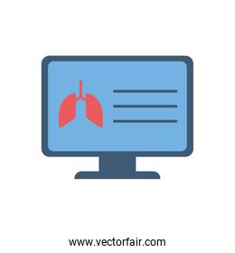 Lungs inside computer flat style icon vector design