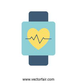 Heart pulse inside smartwatch flat style icon vector design