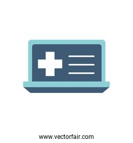 Isolated cross inside laptop flat style icon vector design