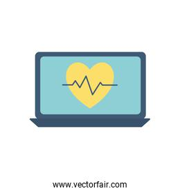 Heart pulse inside laptop flat style icon vector design