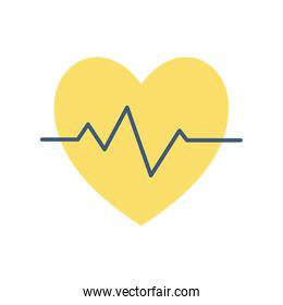 Isolated heart pulse flat style icon vector design
