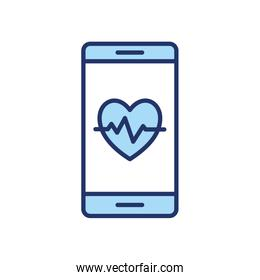 Heart pulse inside smartphone line and fill style icon vector design