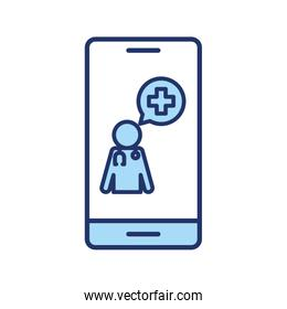 doctor with cross bubble inside smartphone line and fill style icon vector design