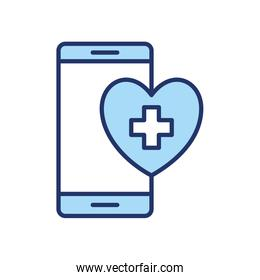 smartphone and cross inside heart line and fill style icon vector design