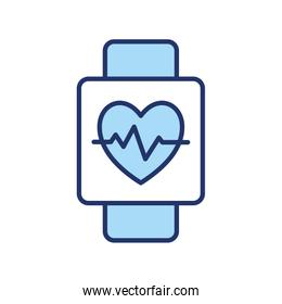 Heart pulse inside smartwatch line and fill style icon vector design
