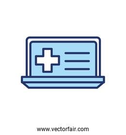 Isolated cross inside laptop line and fill style icon vector design