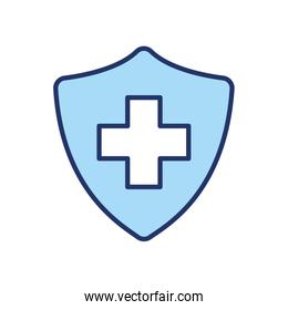 Isolated cross inside shield line and fill style icon vector design