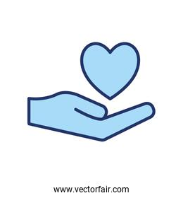 Isolated heart over hand line and fill style icon vector design