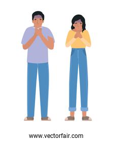 Avatar man and woman feeling sick dizzy and with nauseous vector design
