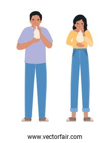 Avatar woman and man with covid 19 virus coughing holding tissue vector design