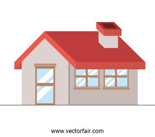 Isolated house with window and door vector design