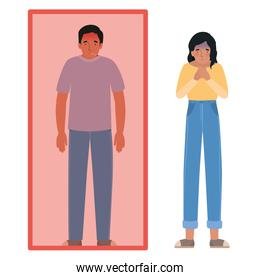 Avatar man and woman with fever in quarantined and nauseous vector design