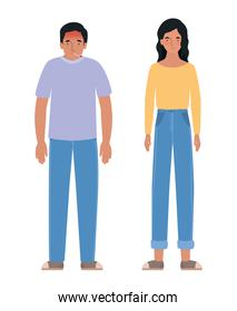 Avatar man and woman with fever isolated icon