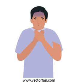 Avatar man feeling sick dizzy and with nauseous vector design
