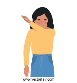 Avatar man sneezing in arm vector design