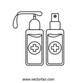 Soap dispenser and alcohol spray bottle with cross vector design