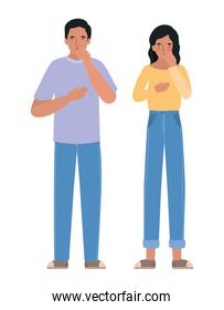 Avatar man and woman with dry cough vector design
