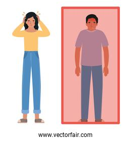 Avatar man and woman with headache and fever vector design