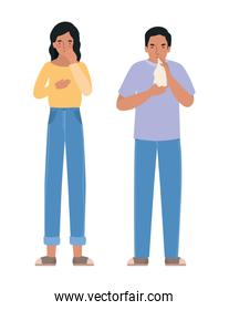 Avatar man and woman with dry cough and cold vector design