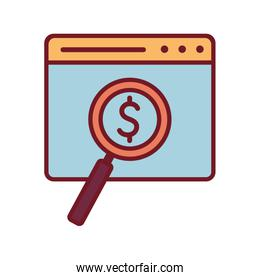 Isolated website with dollar symbol inside lupe line and fill style icon vector design