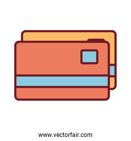 Isolated money credit cards line and fill style icon vector design