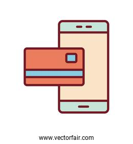 Isolated money credit card and smartphone line and fill style icon vector design