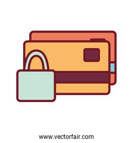 Isolated money credit cards and padlock line and fill style icon vector design