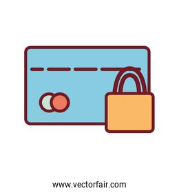 Isolated money credit card and padlock line and fill style icon vector design