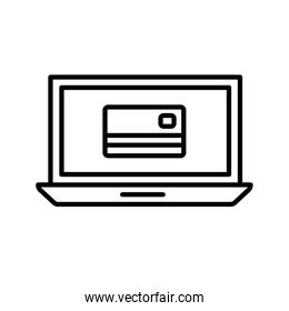 Isolated money credit card inside laptop line style icon vector design