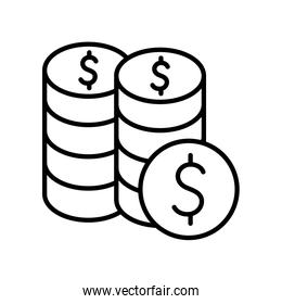 Isolated money coins line style icon vector design