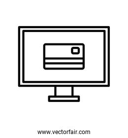 Isolated money credit card inside computer line style icon vector design