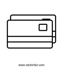 Isolated money credit cards line style icon vector design