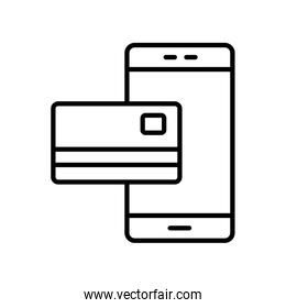 Isolated money credit card and smartphone line style icon vector design