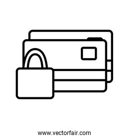 Isolated money credit cards and padlock line style icon vector design